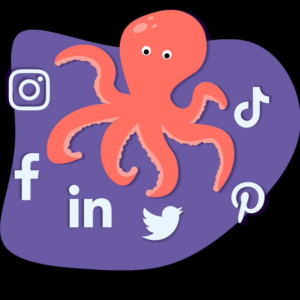cartoon image of an octopus with social media symbols around