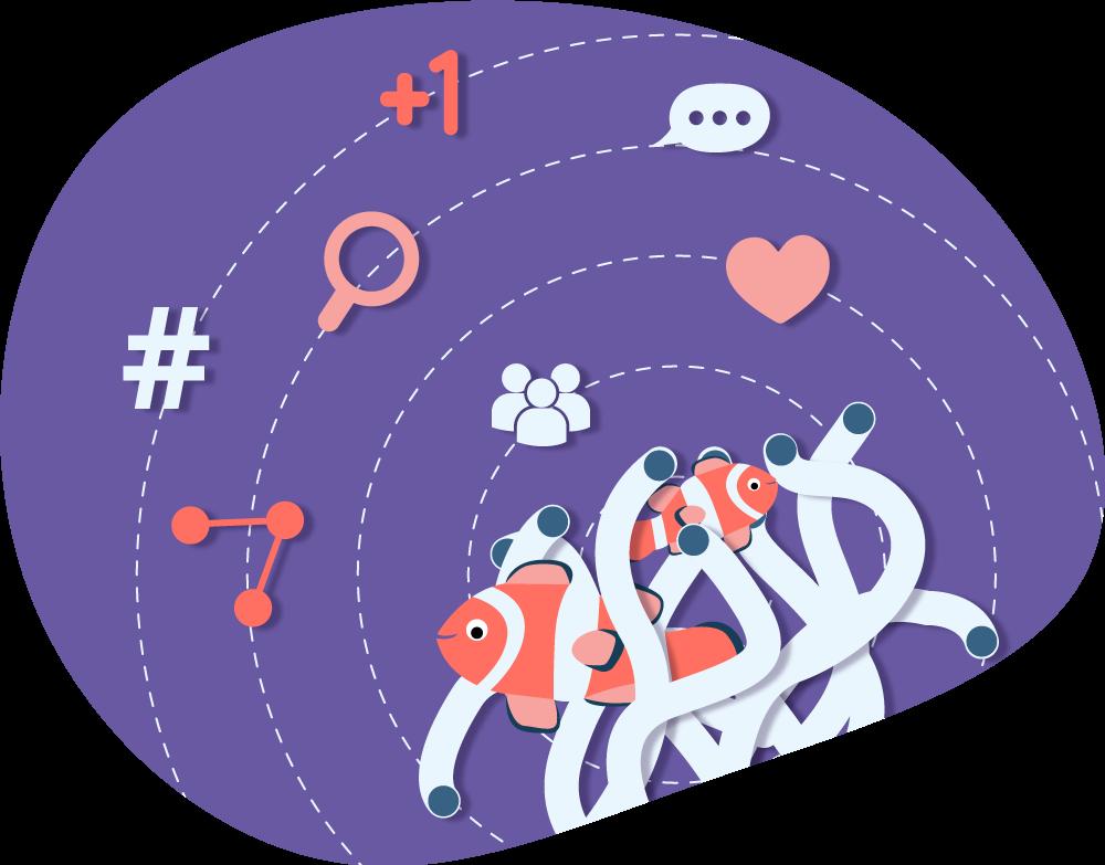 cartoon image of anemone, clownfish and stylized social media elements