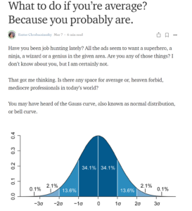 Screenshot of Medium article What to do if you're average? Because you probably are.